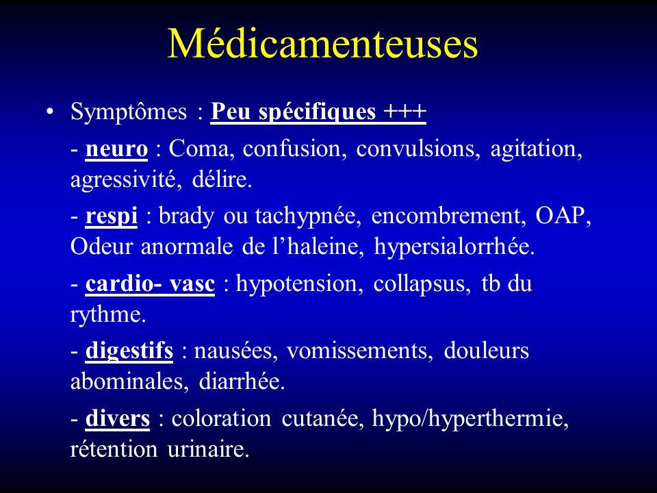 Médicamenteuses Symptômes : Peu spécifiques +++ - neuro : Coma, confusion, convulsions, agitation, agressivité, délire. - respi : brady ou tachypnée,