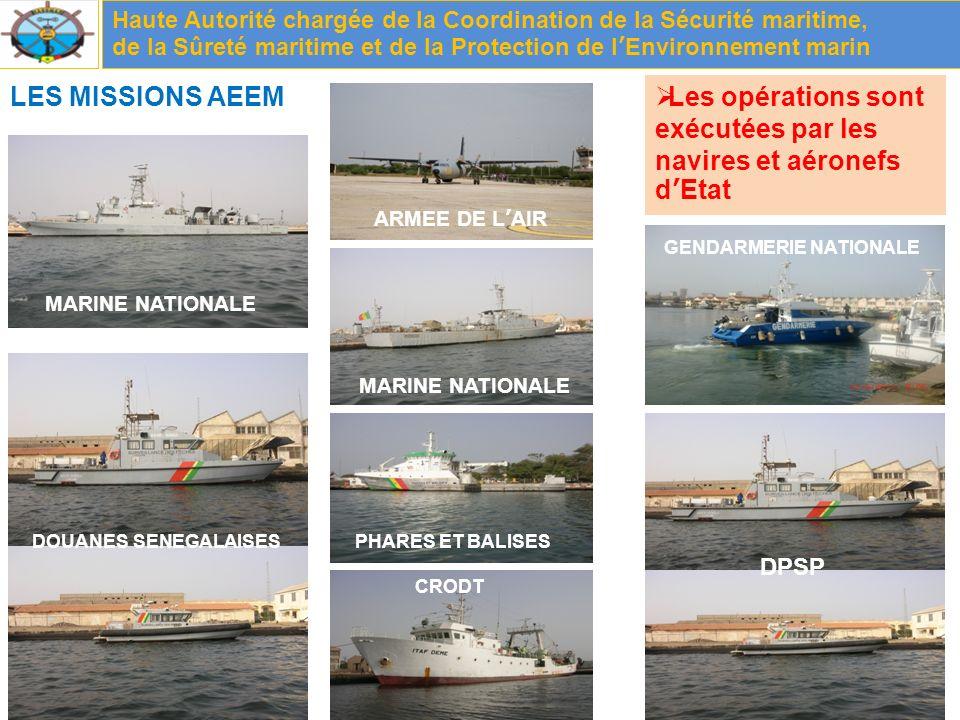 LES MISSIONS AEEM Haute Autorité chargée de la Coordination de la Sécurité maritime, de la Sûreté maritime et de la Protection de lEnvironnement marin Les opérations sont exécutées par les navires et aéronefs dEtat MARINE NATIONALE GENDARMERIE NATIONALE PHARES ET BALISES CRODT DPSP DOUANES SENEGALAISES ARMEE DE LAIR