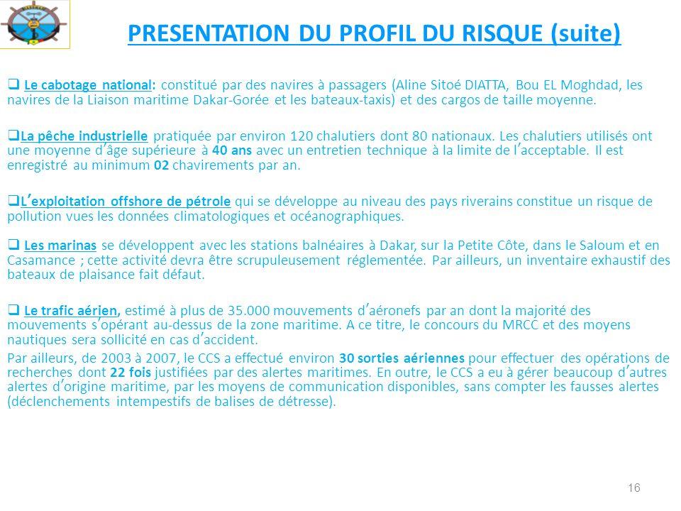 16 PRESENTATION DU PROFIL DU RISQUE (suite) Le cabotage national: constitué par des navires à passagers (Aline Sitoé DIATTA, Bou EL Moghdad, les navires de la Liaison maritime Dakar-Gorée et les bateaux-taxis) et des cargos de taille moyenne.