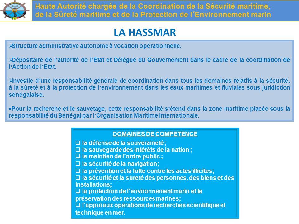 LA HASSMAR Haute Autorité chargée de la Coordination de la Sécurité maritime, de la Sûreté maritime et de la Protection de lEnvironnement marin Structure administrative autonome à vocation opérationnelle.
