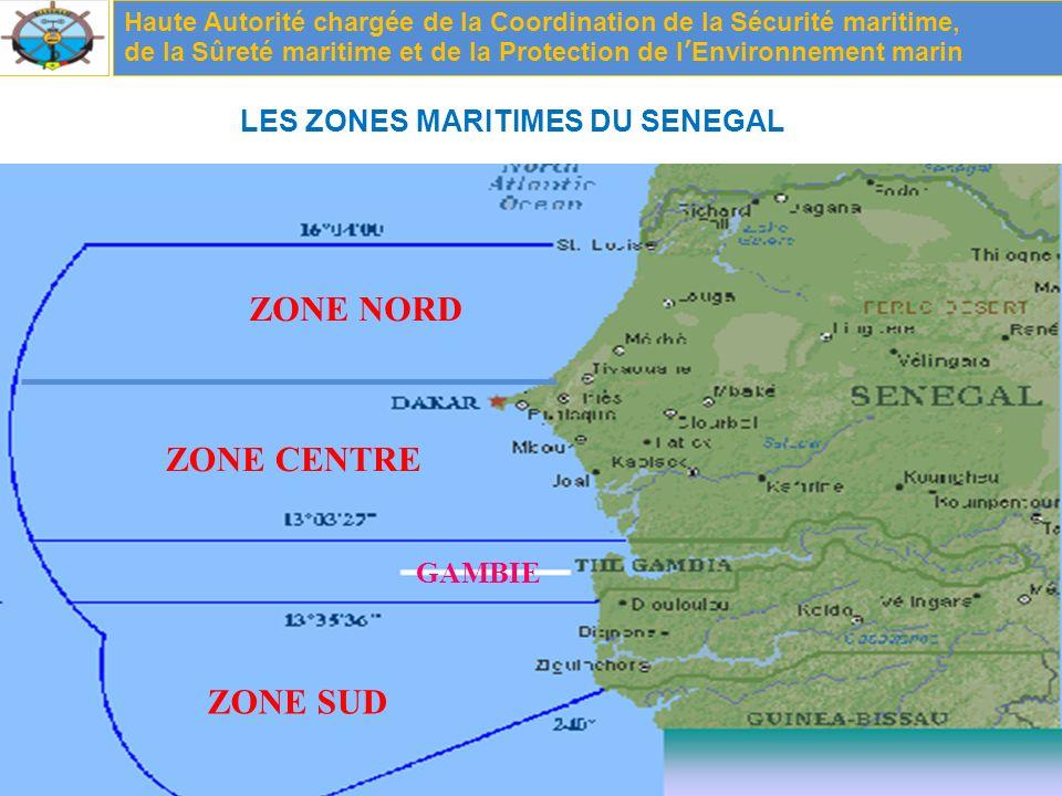 GAMBIE ZONE NORD ZONE CENTRE ZONE SUD LES ZONES MARITIMES DU SENEGAL Haute Autorité chargée de la Coordination de la Sécurité maritime, de la Sûreté maritime et de la Protection de lEnvironnement marin