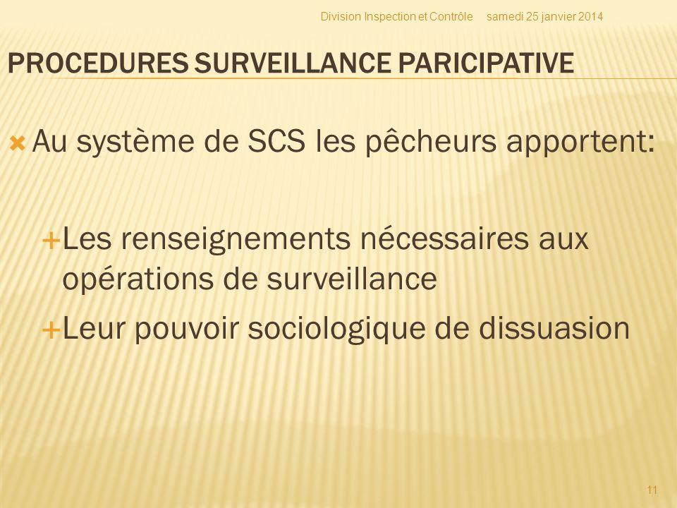 Au système de SCS les pêcheurs apportent: Les renseignements nécessaires aux opérations de surveillance Leur pouvoir sociologique de dissuasion samedi