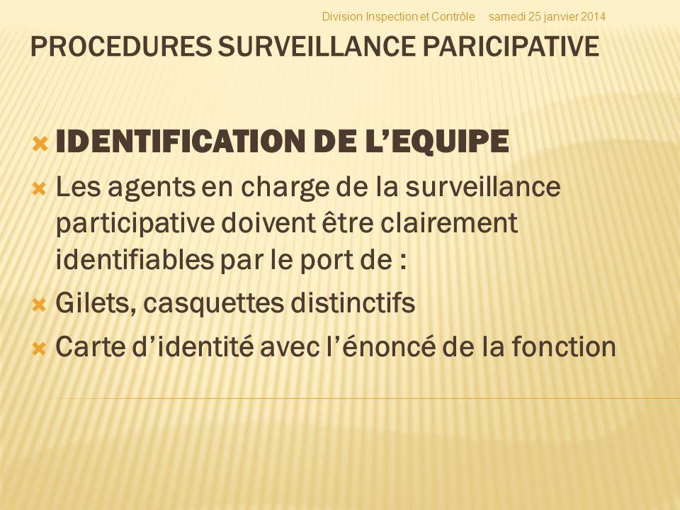 PROCEDURES SURVEILLANCE PARICIPATIVE IDENTIFICATION DE LEQUIPE Les agents en charge de la surveillance participative doivent être clairement identifia