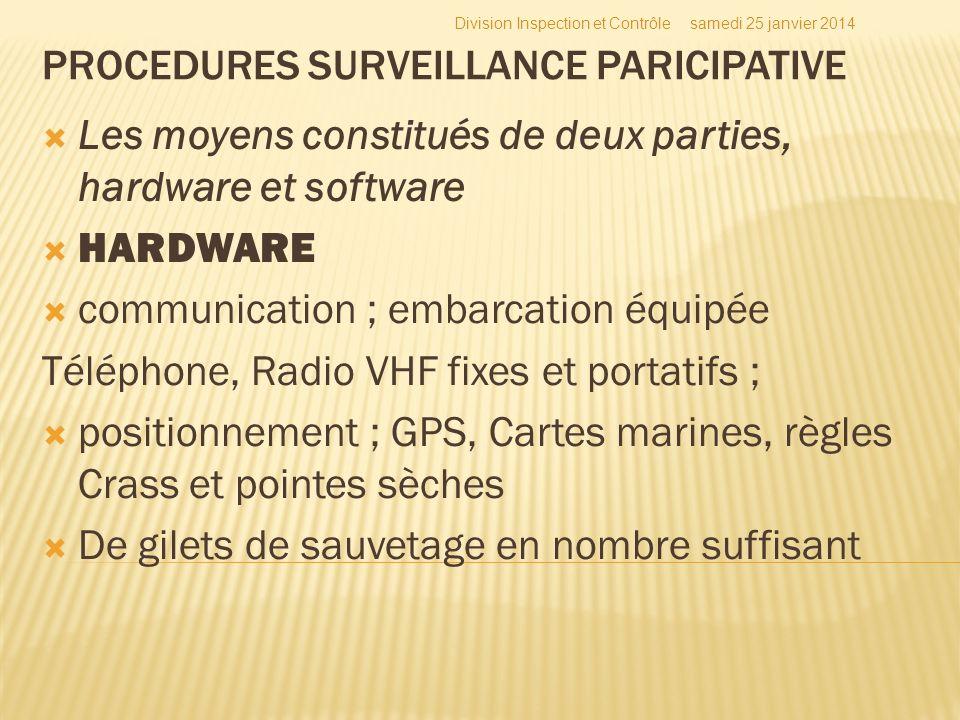 Les moyens constitués de deux parties, hardware et software HARDWARE communication ; embarcation équipée Téléphone, Radio VHF fixes et portatifs ; pos