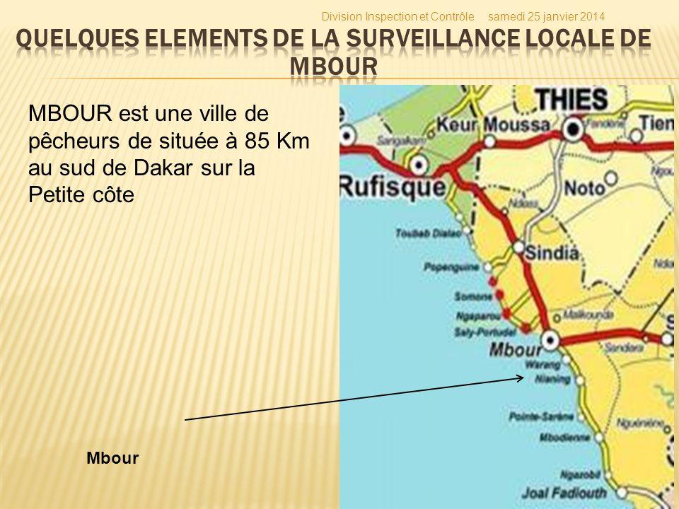 samedi 25 janvier 2014Division Inspection et Contrôle 34 MBOUR est une ville de pêcheurs de située à 85 Km au sud de Dakar sur la Petite côte Mbour