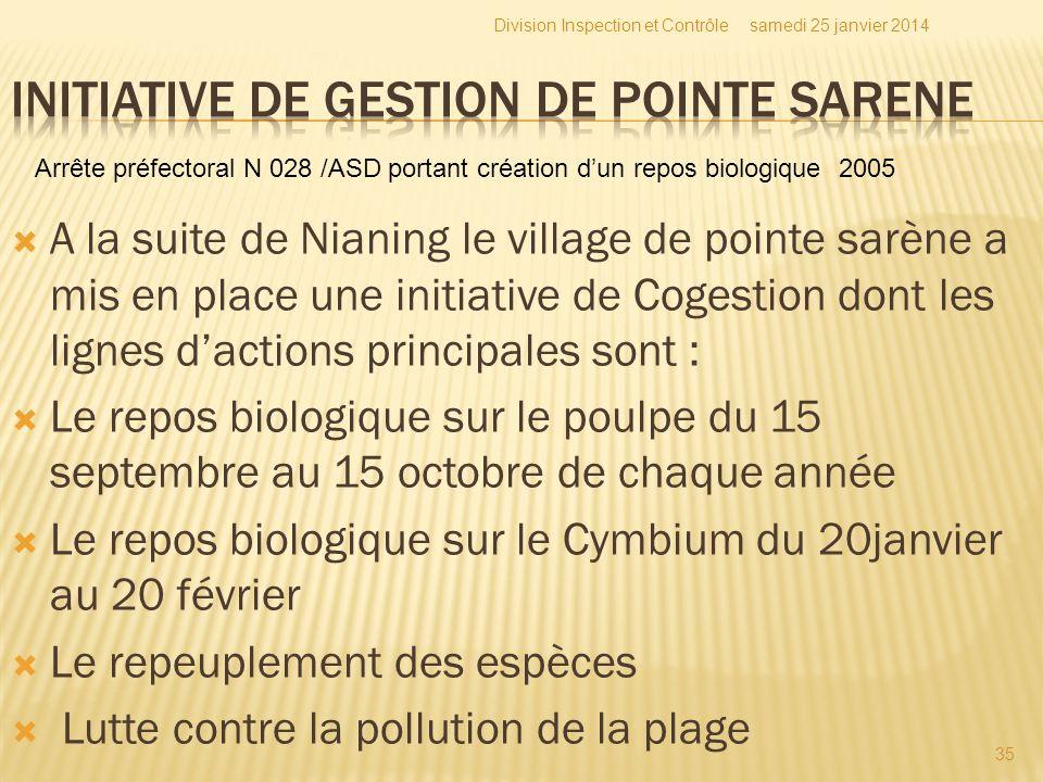 A la suite de Nianing le village de pointe sarène a mis en place une initiative de Cogestion dont les lignes dactions principales sont : Le repos biol
