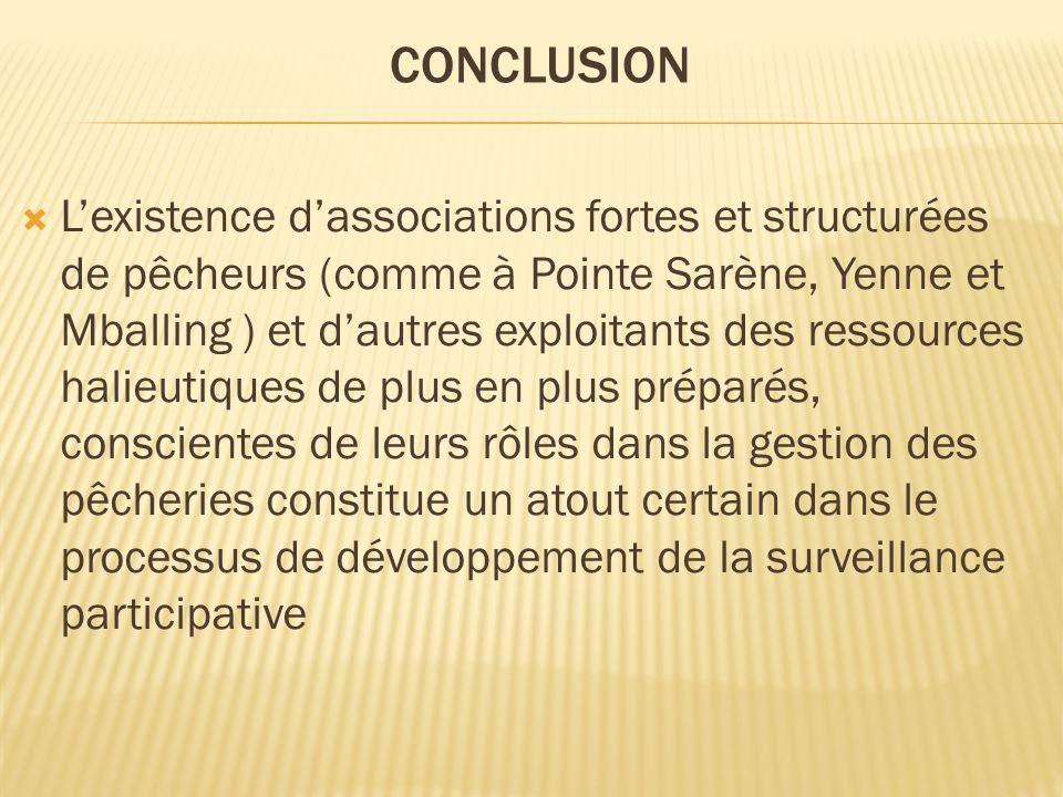 Lexistence dassociations fortes et structurées de pêcheurs (comme à Pointe Sarène, Yenne et Mballing ) et dautres exploitants des ressources halieutiq