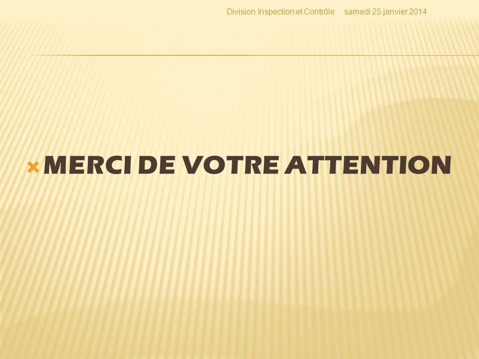 MERCI DE VOTRE ATTENTION Division Inspection et Contrôlesamedi 25 janvier 2014