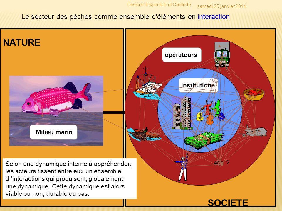 Le secteur des pêches comme ensemble déléments en interaction Institutions opérateurs etc ? Milieu marin Toutes les caractéristiques et propriétés des