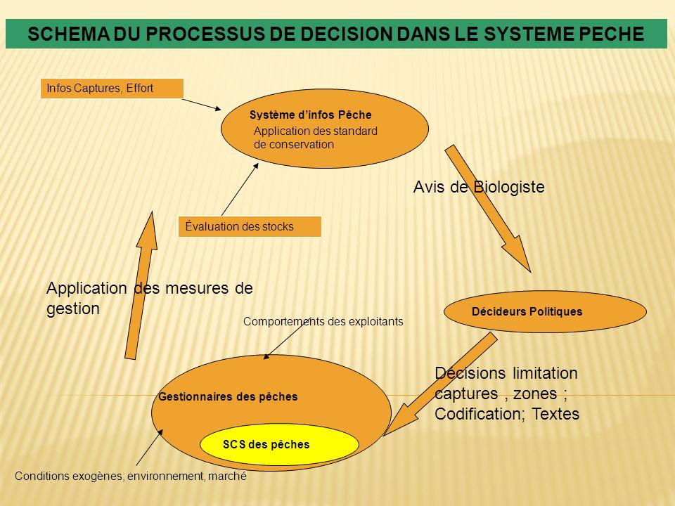 SCHEMA DU PROCESSUS DE DECISION DANS LE SYSTEME PECHE Système dinfos Pêche Infos Captures, Effort Application des standard de conservation Avis de Bio