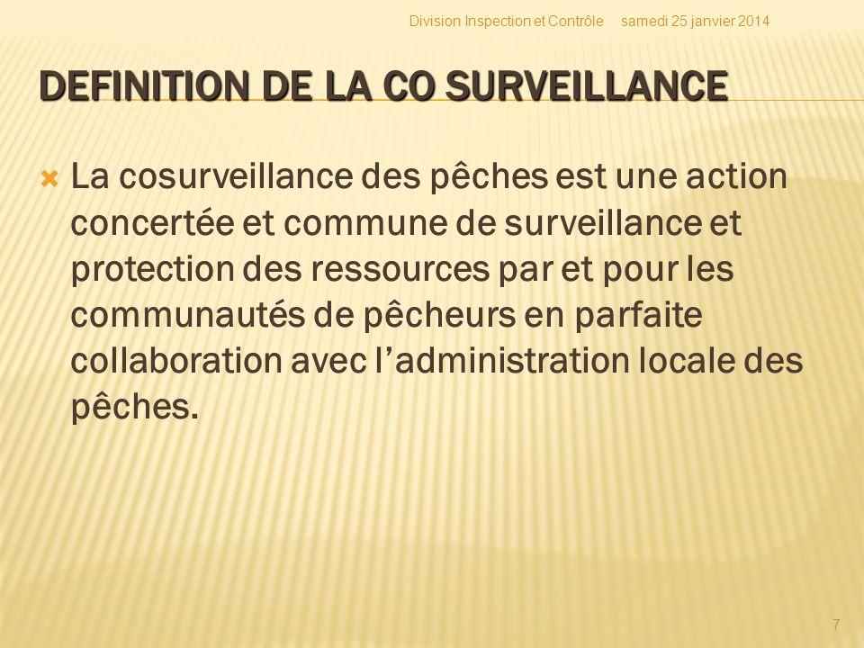 DEFINITION DE LA CO SURVEILLANCE La cosurveillance des pêches est une action concertée et commune de surveillance et protection des ressources par et