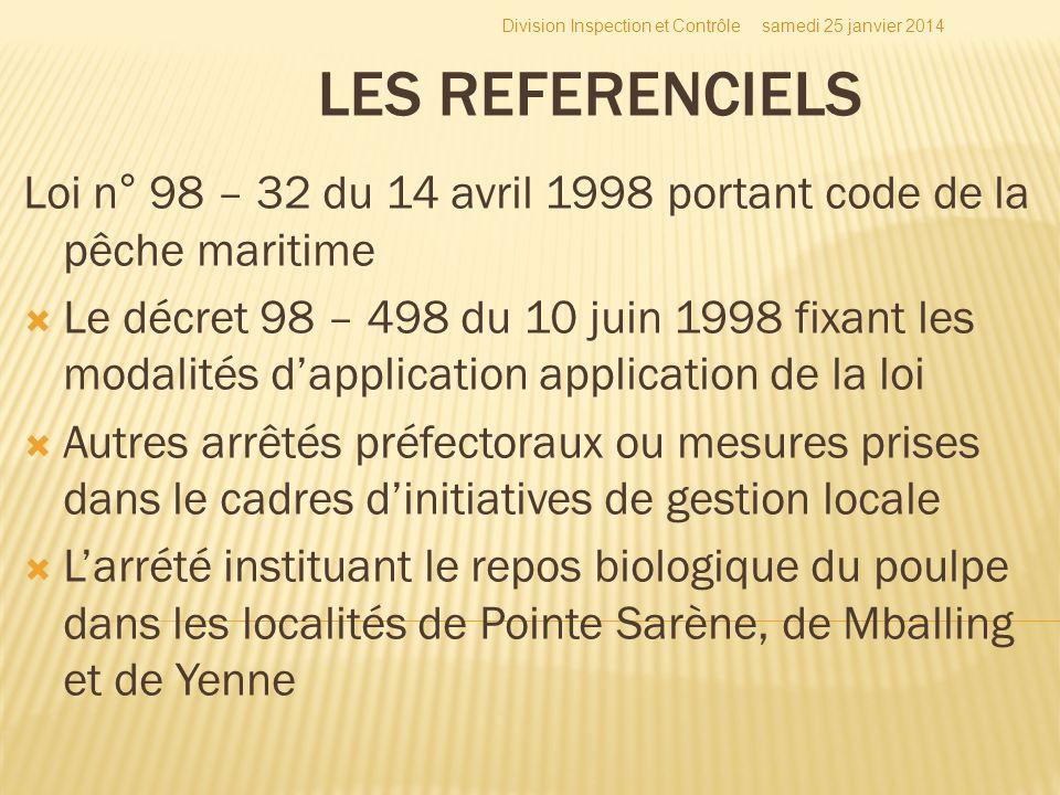 LES REFERENCIELS Loi n° 98 – 32 du 14 avril 1998 portant code de la pêche maritime Le décret 98 – 498 du 10 juin 1998 fixant les modalités dapplicatio