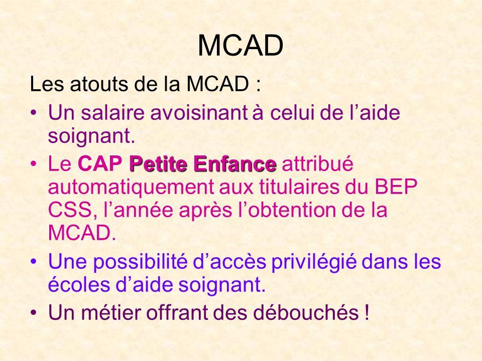 MCAD Les atouts de la MCAD : Un salaire avoisinant à celui de laide soignant. Petite EnfanceLe CAP Petite Enfance attribué automatiquement aux titulai