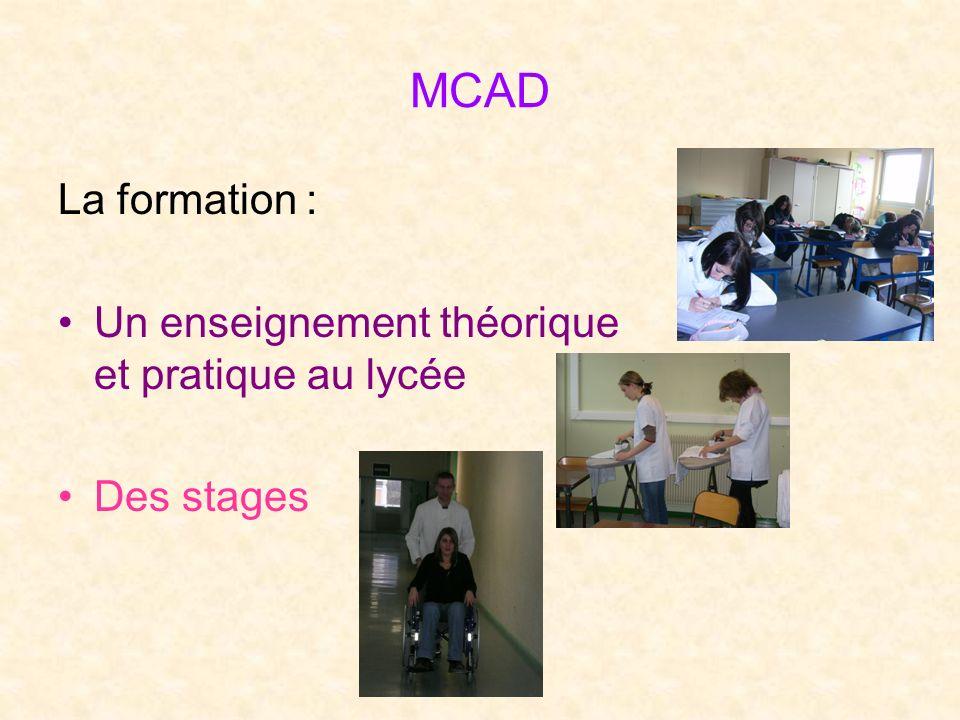 MCAD La formation : Un enseignement théorique et pratique au lycée Des stages