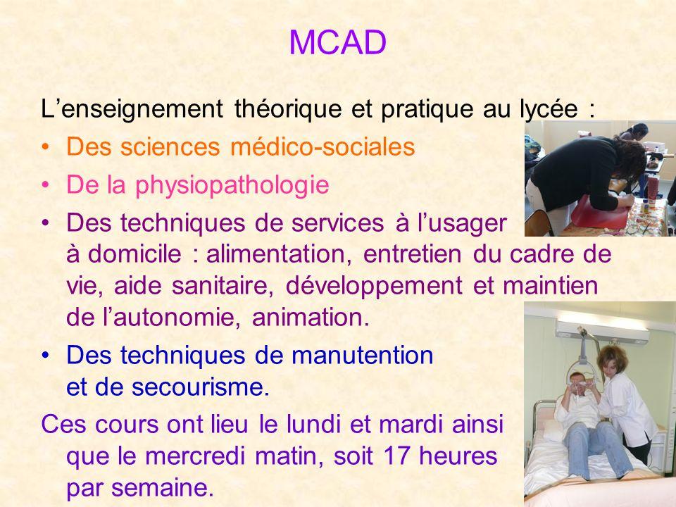 MCAD Lenseignement théorique et pratique au lycée : Des sciences médico-sociales De la physiopathologie Des techniques de services à lusager à domicil