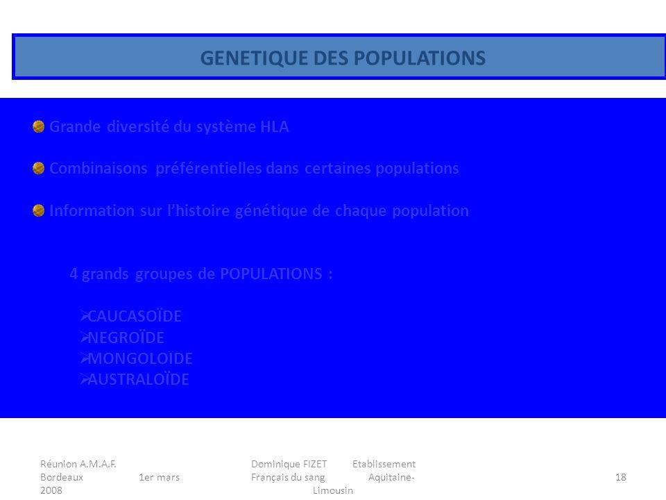 Réunion A.M.A.F. Bordeaux 1er mars 2008 Dominique FIZET Etablissement Français du sang Aquitaine- Limousin 18 GENETIQUE DES POPULATIONS Grande diversi