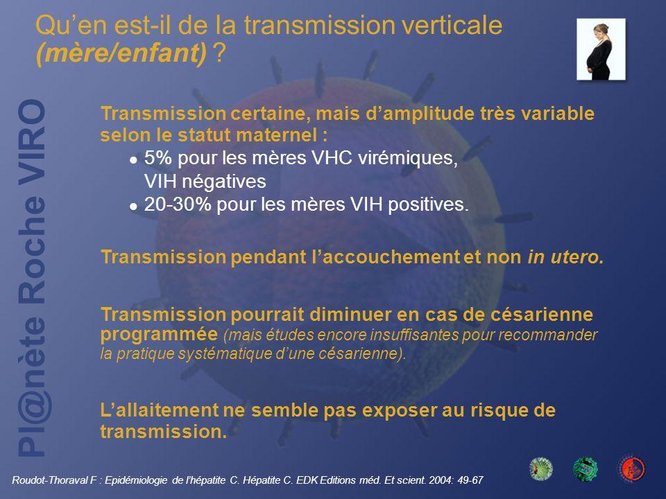 Pl@nète Roche VIRO Transmission certaine, mais damplitude très variable selon le statut maternel : 5% pour les mères VHC virémiques, VIH négatives 20-