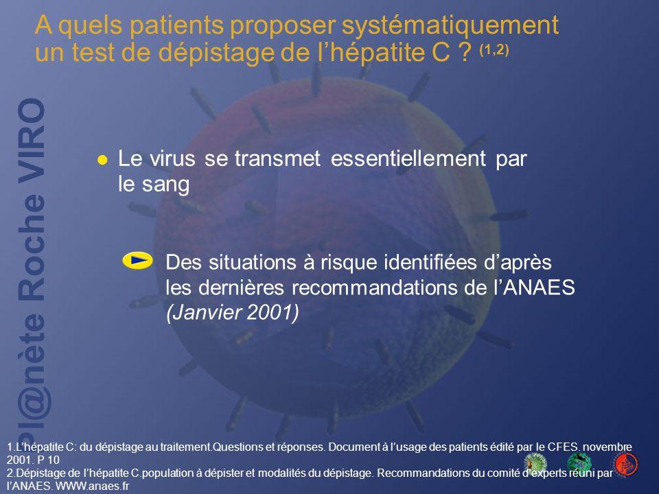 Pl@nète Roche VIRO A quels patients proposer systématiquement un test de dépistage de lhépatite C ? (1,2) Le virus se transmet essentiellement par le
