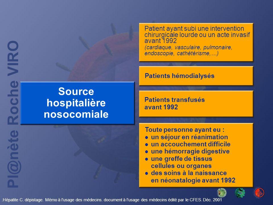 Pl@nète Roche VIRO Patient ayant subi une intervention chirurgicale lourde ou un acte invasif avant 1992 (cardiaque, vasculaire, pulmonaire, endoscopi
