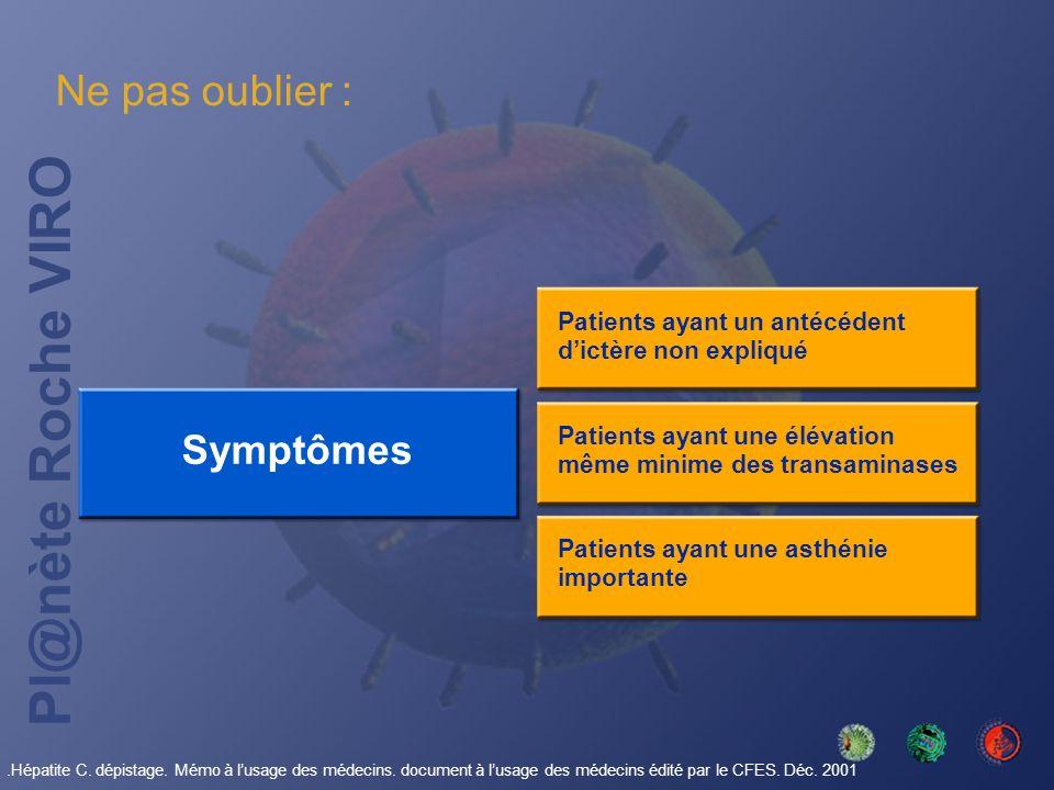 Pl@nète Roche VIRO Symptômes Patients ayant un antécédent dictère non expliqué Ne pas oublier : Patients ayant une élévation même minime des transamin