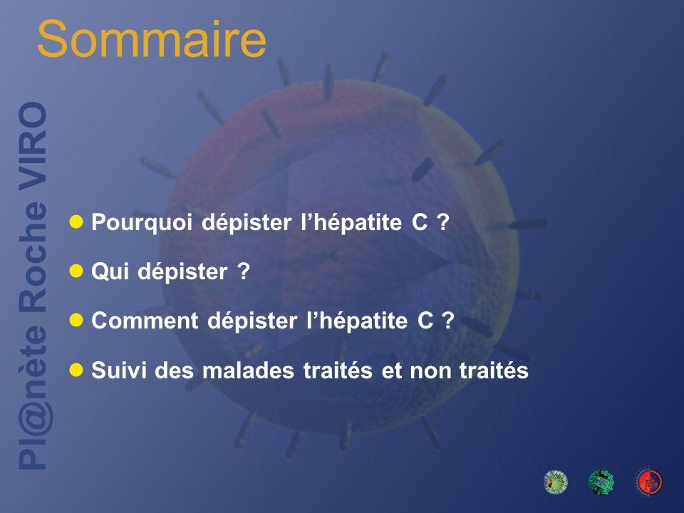 Pl@nète Roche VIRO Sommaire Pourquoi dépister lhépatite C ? Qui dépister ? Comment dépister lhépatite C ? Suivi des malades traités et non traités