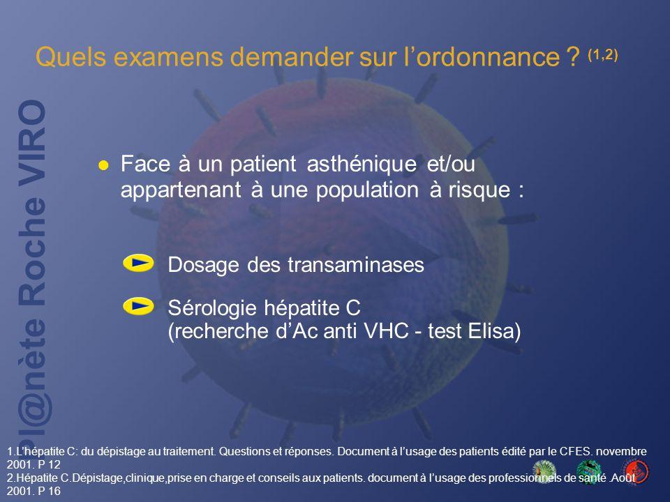 Pl@nète Roche VIRO Quels examens demander sur lordonnance ? (1,2) Dosage des transaminases Sérologie hépatite C (recherche dAc anti VHC - test Elisa)