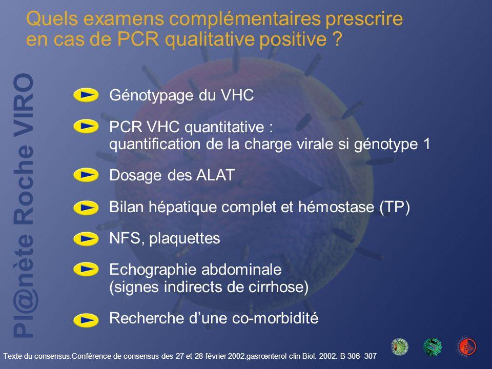 Pl@nète Roche VIRO Quels examens complémentaires prescrire en cas de PCR qualitative positive ? Génotypage du VHC PCR VHC quantitative : quantificatio