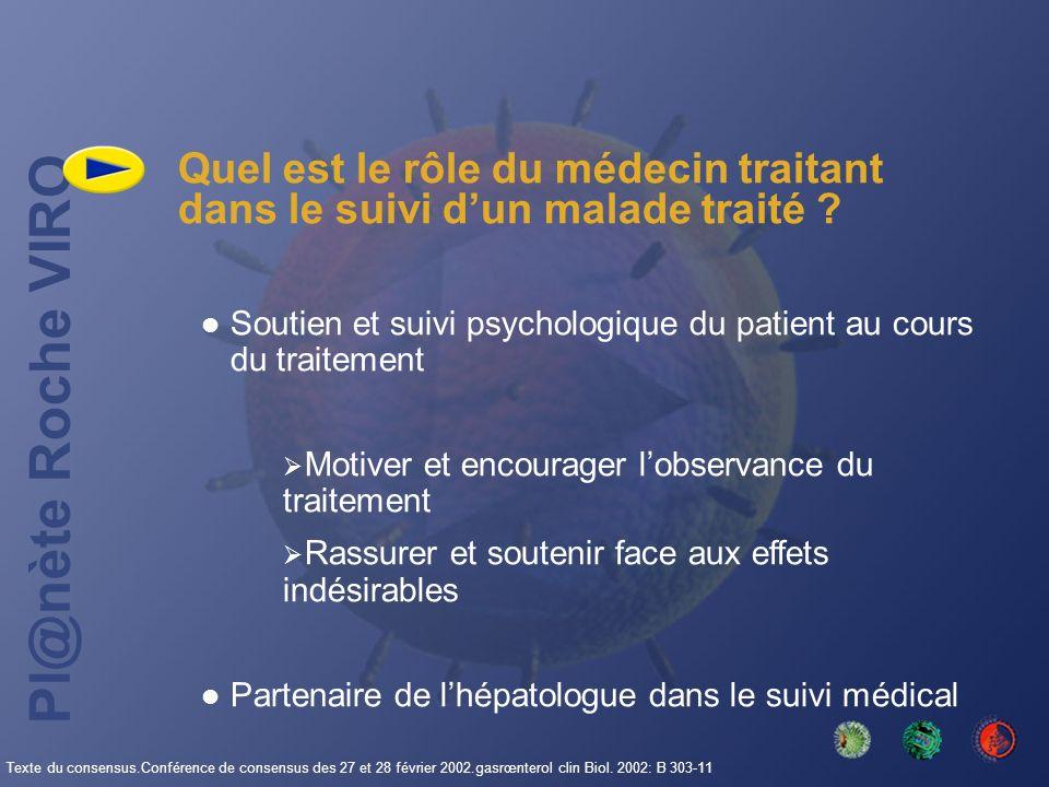 Pl@nète Roche VIRO Quel est le rôle du médecin traitant dans le suivi dun malade traité ? Soutien et suivi psychologique du patient au cours du traite
