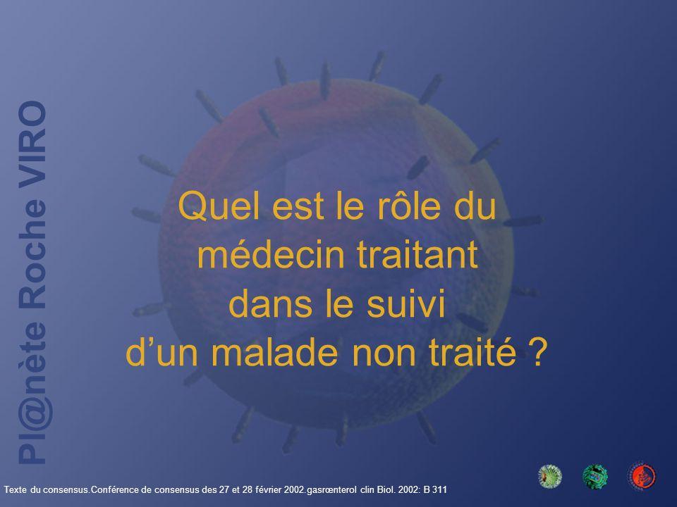 Pl@nète Roche VIRO Quel est le rôle du médecin traitant dans le suivi dun malade non traité ? Texte du consensus.Conférence de consensus des 27 et 28