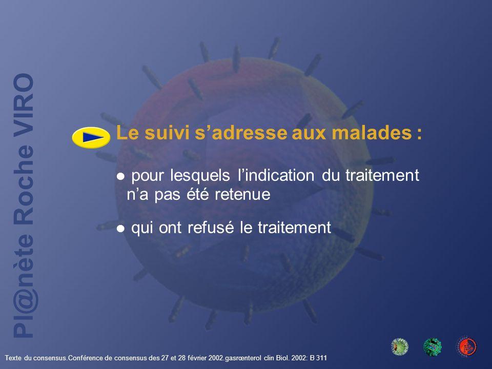 Pl@nète Roche VIRO Le suivi sadresse aux malades : pour lesquels lindication du traitement na pas été retenue qui ont refusé le traitement Texte du co