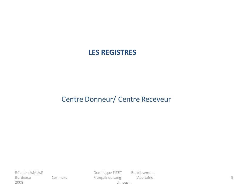 Réunion A.M.A.F. Bordeaux 1er mars 2008 Dominique FIZET Etablissement Français du sang Aquitaine- Limousin 9 LES REGISTRES Centre Donneur/ Centre Rece