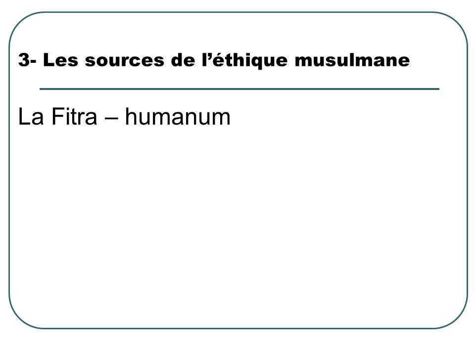 3- Les sources de léthique musulmane La Fitra – humanum