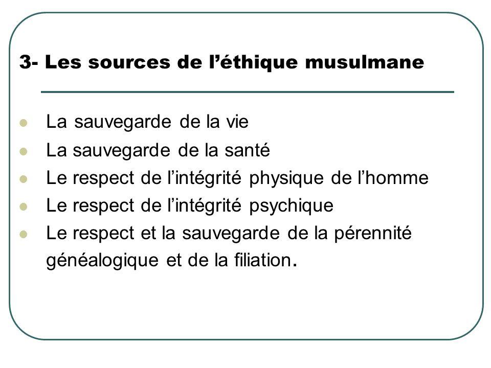 3- Les sources de léthique musulmane La sauvegarde de la vie La sauvegarde de la santé Le respect de lintégrité physique de lhomme Le respect de linté