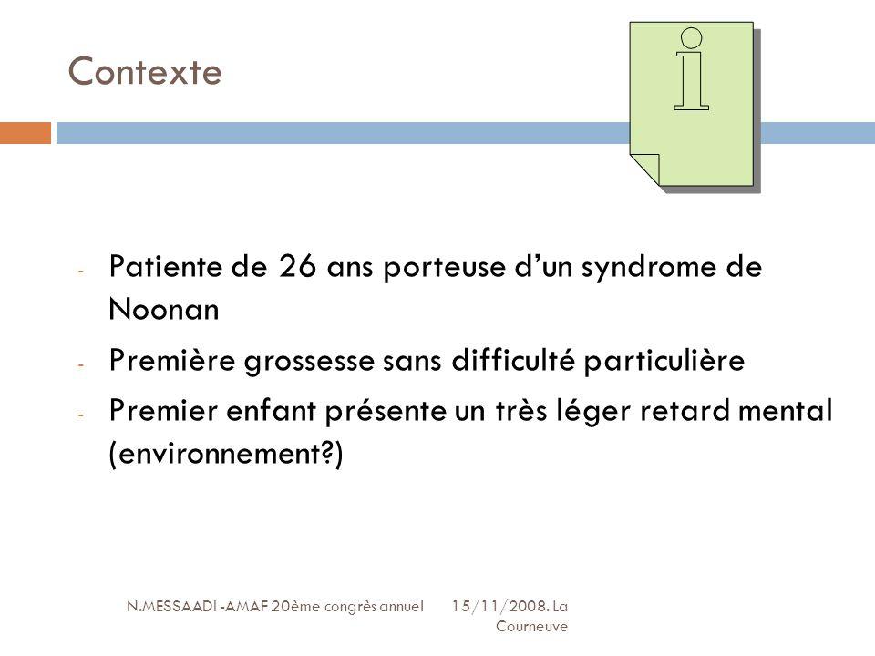 Contexte N.MESSAADI -AMAF 20ème congrès annuel 15/11/2008. La Courneuve - Patiente de 26 ans porteuse dun syndrome de Noonan - Première grossesse sans