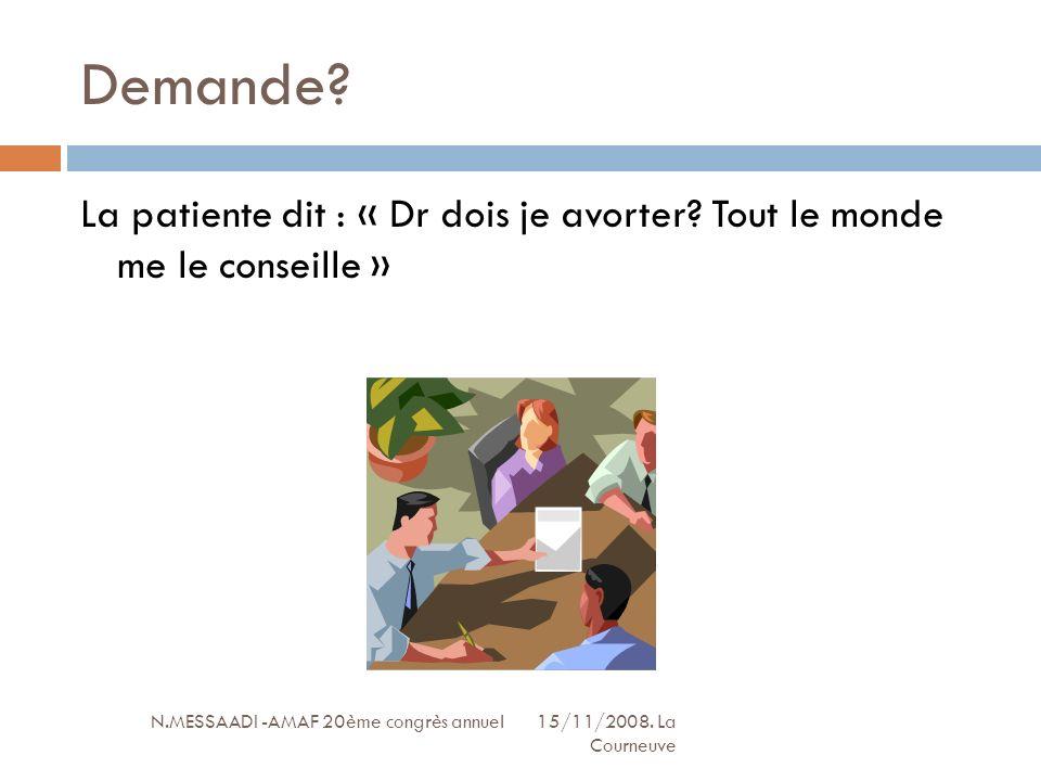 Demande? N.MESSAADI -AMAF 20ème congrès annuel 15/11/2008. La Courneuve La patiente dit : « Dr dois je avorter? Tout le monde me le conseille »