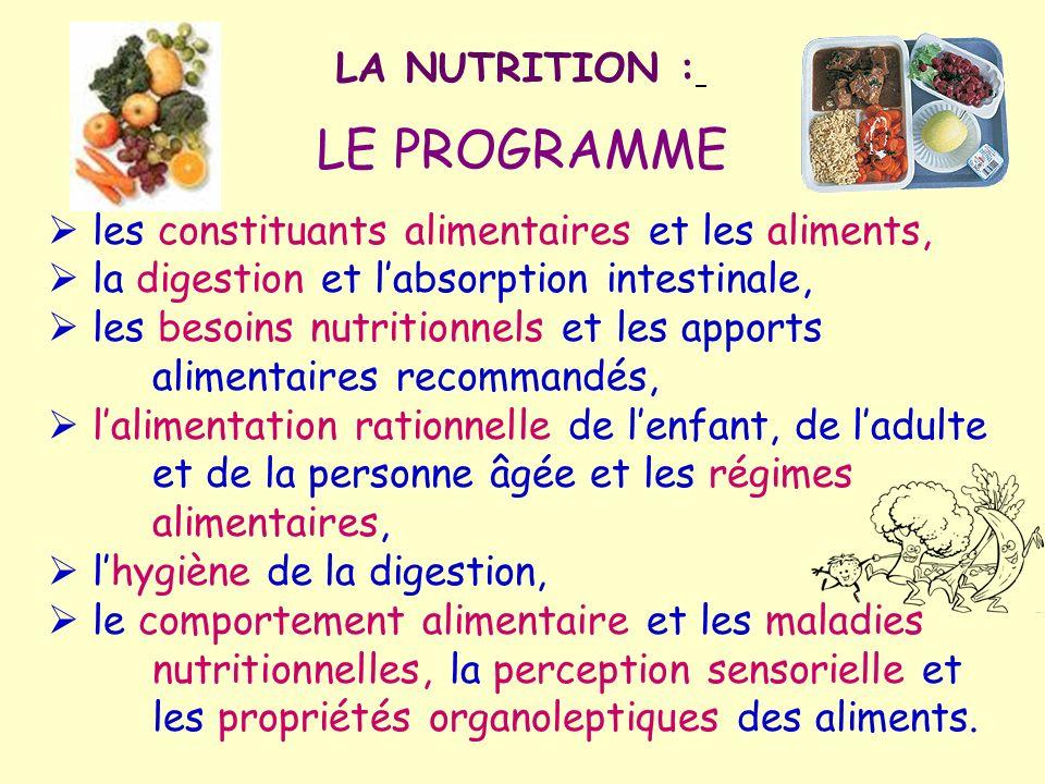 LA NUTRITION : LE PROGRAMME les constituants alimentaires et les aliments, la digestion et labsorption intestinale, les besoins nutritionnels et les a