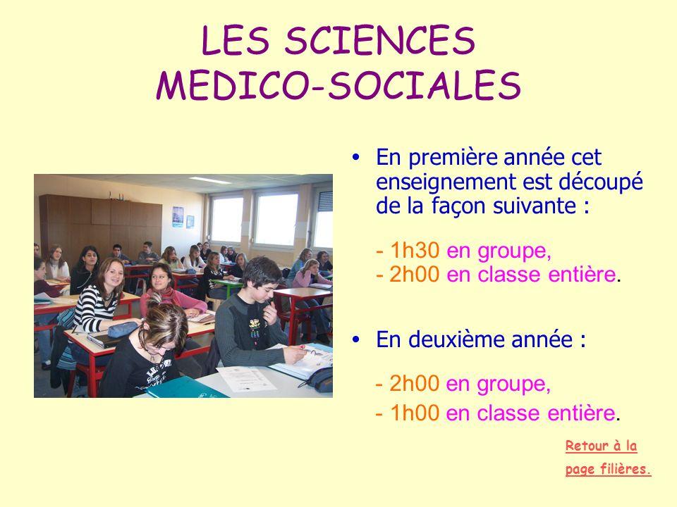LES SCIENCES MEDICO-SOCIALES En première année cet enseignement est découpé de la façon suivante : - 1h30 en groupe, - 2h00 en classe entière. En deux
