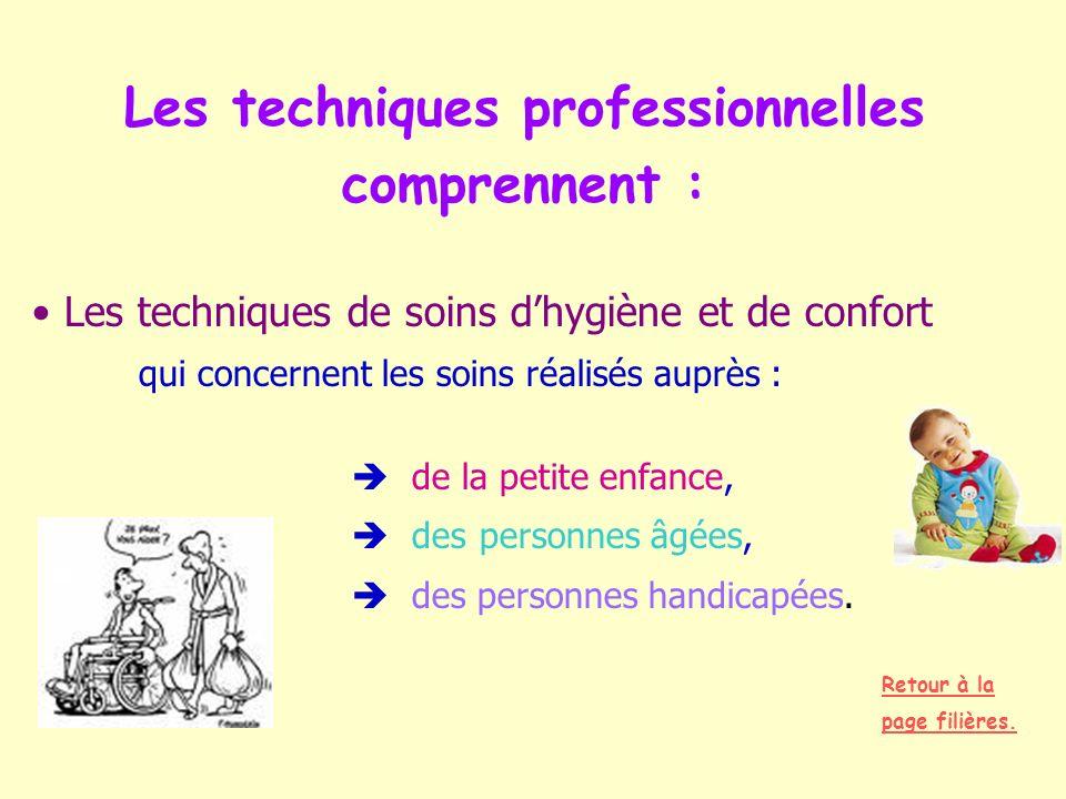 Les techniques professionnelles comprennent : Les techniques de soins dhygiène et de confort qui concernent les soins réalisés auprès : de la petite e