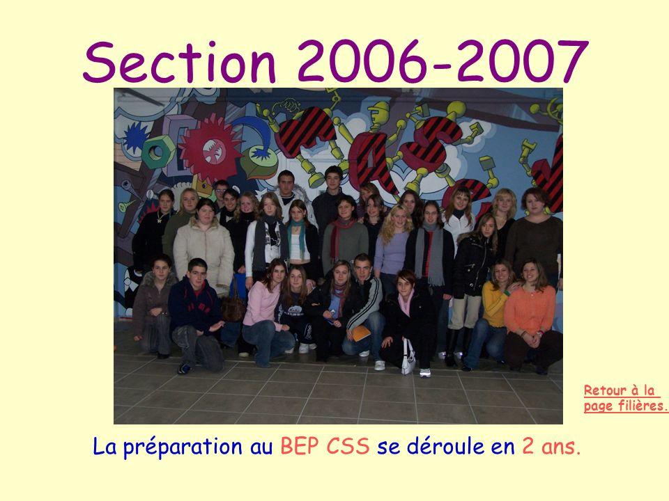 Section 2006-2007 La préparation au BEP CSS se déroule en 2 ans. Retour à la page filières.