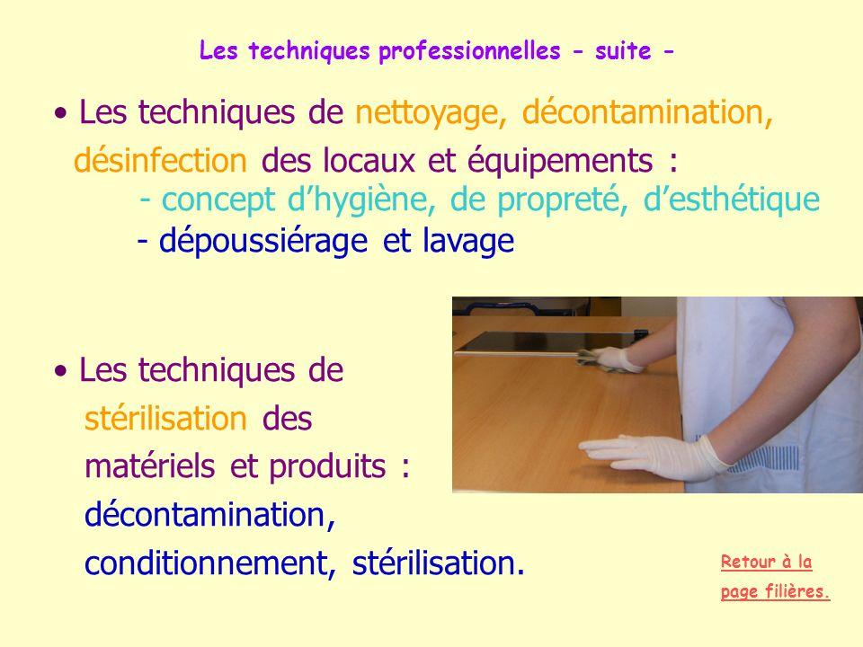 Les techniques professionnelles - suite - Les techniques de nettoyage, décontamination, désinfection des locaux et équipements : - concept dhygiène, d