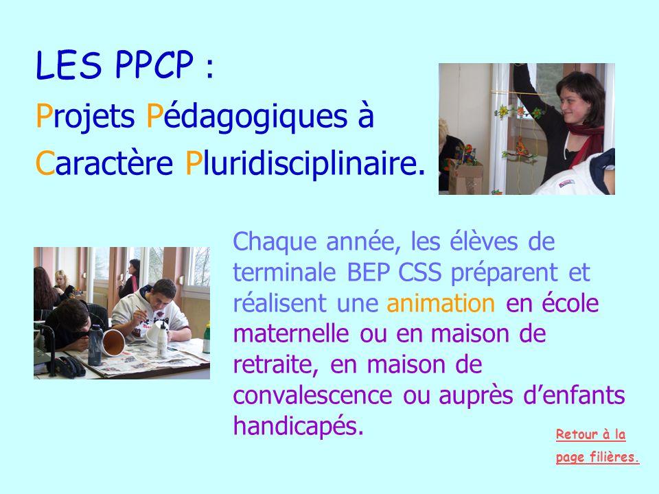 LES PPCP : Projets Pédagogiques à Caractère Pluridisciplinaire. Chaque année, les élèves de terminale BEP CSS préparent et réalisent une animation en