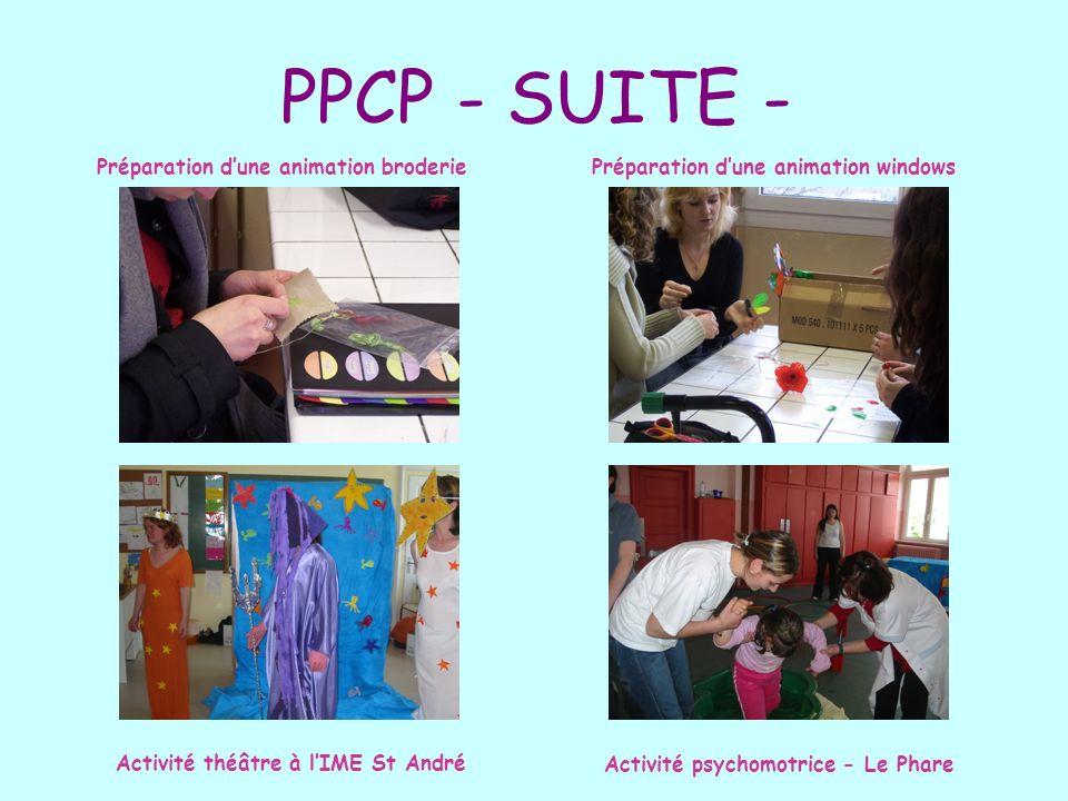 PPCP - SUITE - Préparation dune animation broderiePréparation dune animation windows Activité théâtre à lIME St André Activité psychomotrice - Le Phar