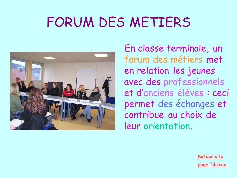 FORUM DES METIERS En classe terminale, un forum des métiers met en relation les jeunes avec des professionnels et danciens élèves : ceci permet des éc
