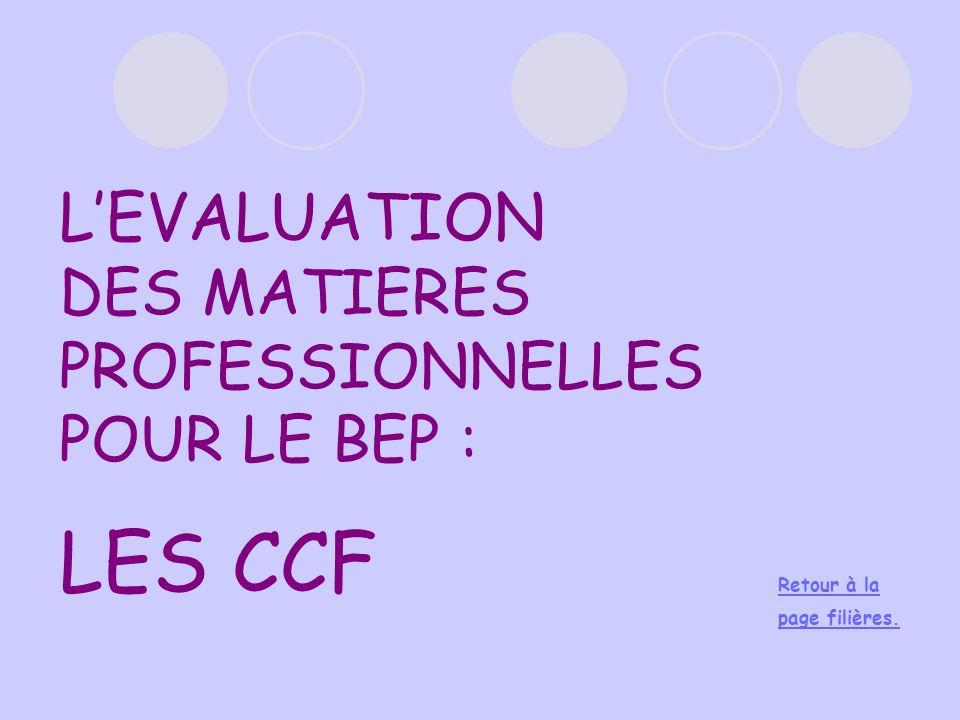 LEVALUATION DES MATIERES PROFESSIONNELLES POUR LE BEP : LES CCF Retour à la page filières.