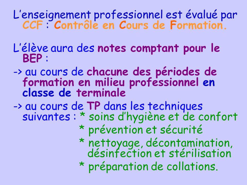 Lenseignement professionnel est évalué par CCF : Contrôle en Cours de Formation. Lélève aura des notes comptant pour le BEP : -> au cours de chacune d