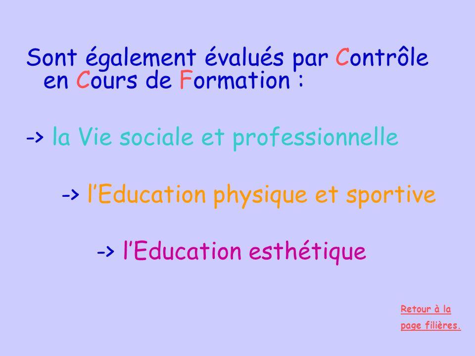 Sont également évalués par Contrôle en Cours de Formation : -> la Vie sociale et professionnelle -> lEducation physique et sportive -> lEducation esth