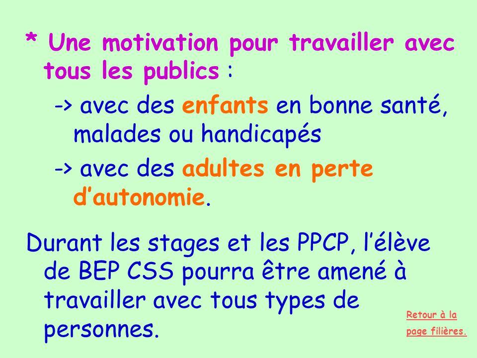 * Une motivation pour travailler avec tous les publics : -> avec des enfants en bonne santé, malades ou handicapés -> avec des adultes en perte dauton