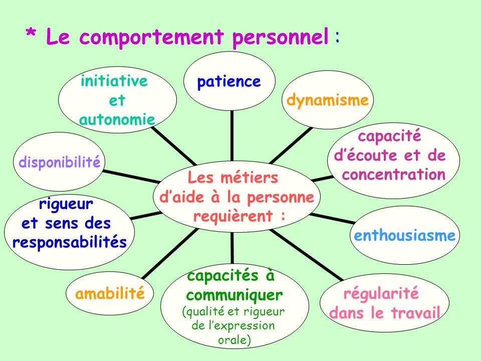* Le comportement personnel : Les métiers daide à la personne requièrent : patiencedynamisme capacité découte et de concentration enthousiasme régular