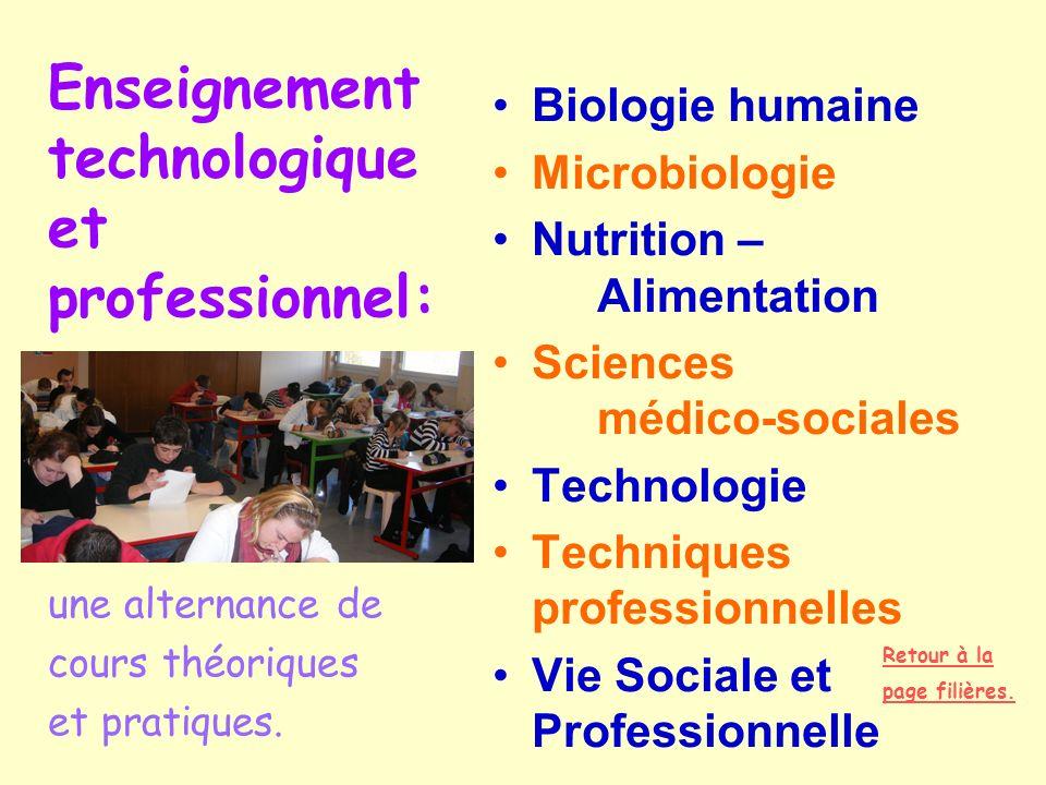 Enseignement technologique et professionnel: Biologie humaine Microbiologie Nutrition – Alimentation Sciences médico-sociales Technologie Techniques p