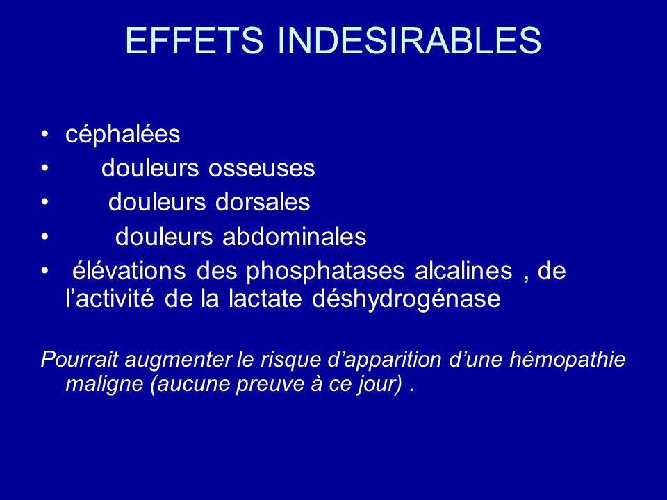 EFFETS INDESIRABLES céphalées douleurs osseuses douleurs dorsales douleurs abdominales élévations des phosphatases alcalines, de lactivité de la lacta